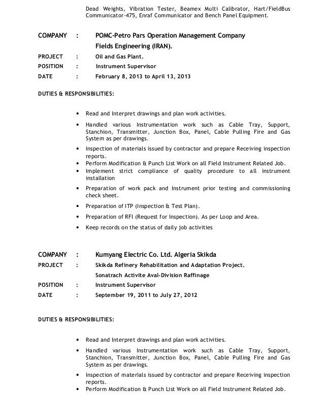 instrument technician resume exles 28 images exle