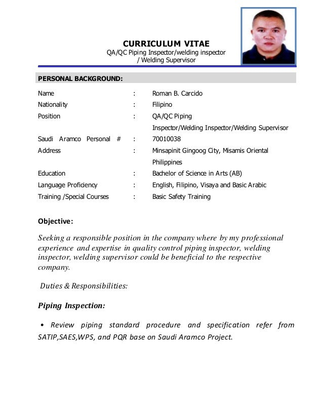 qa qc inspector resume