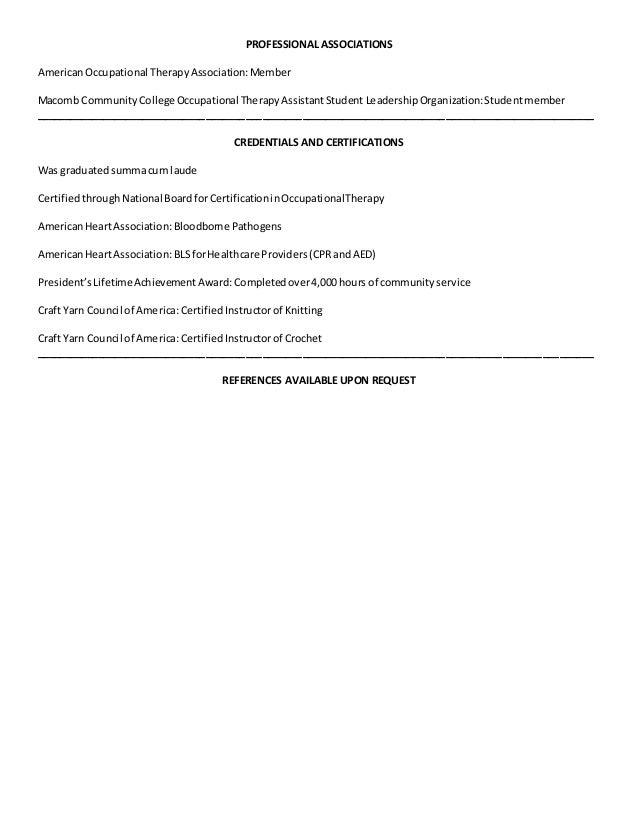 Resume professional associations