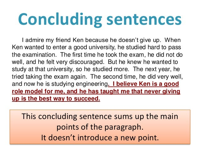 concluding essay sentence This lesson will highlight how to write concluding sentences we'll look at examples and starters a short quiz will follow to test your knowledge.