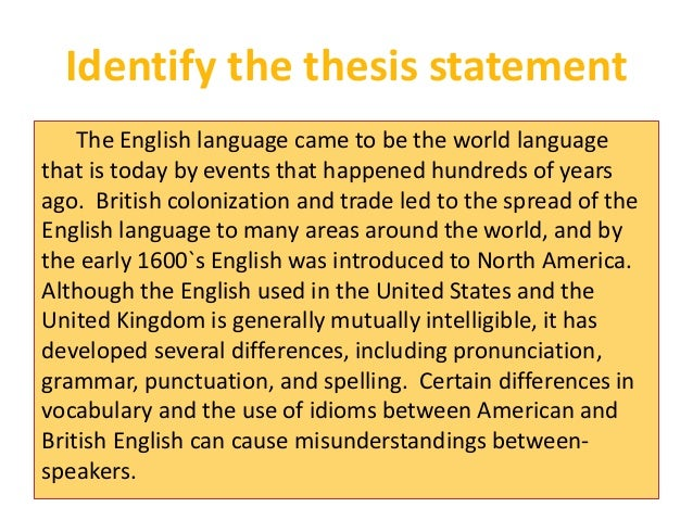identifying thesis statements in reading Online writing lab and states why the essay is important and worth reading your essay and cannot identify where the thesis statement is.