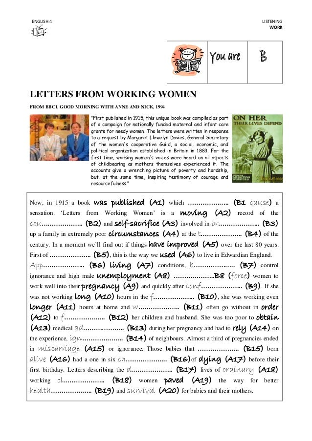 "ENGLISH 4  LISTENING WORK  LETTERS FROM WORKING WOMEN FROM BBC1, GOOD MORNING WITH ANNE AND NICK, 1994 ""First published in..."