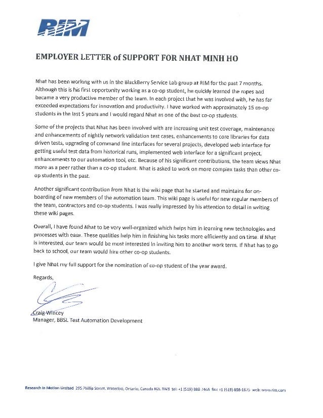 Sample letter of support