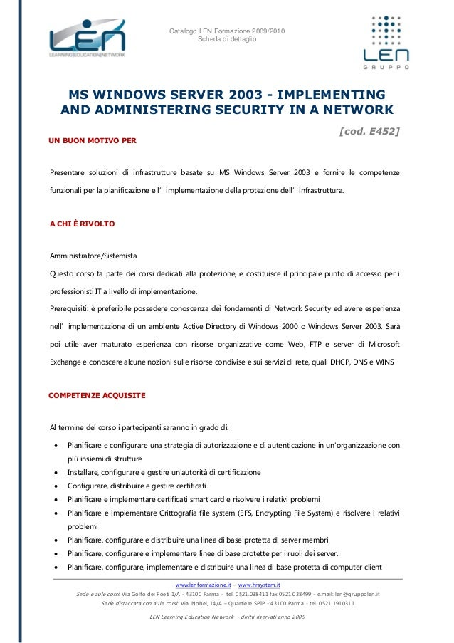 Implementing and administering security in a network - Scheda corso LEN