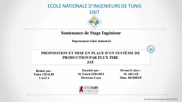 Soutenance de Stage Ingénieur Département Génie Industriel PROPOSITION ET MISE EN PLACE D'UN SYSTÈME DE PRODUCTION PAR FLU...