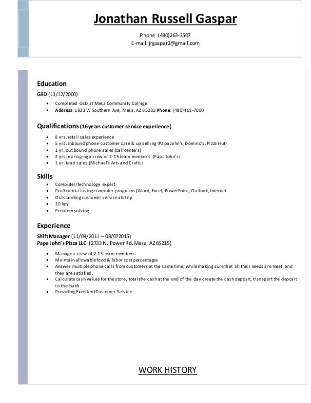 Resume education not completed