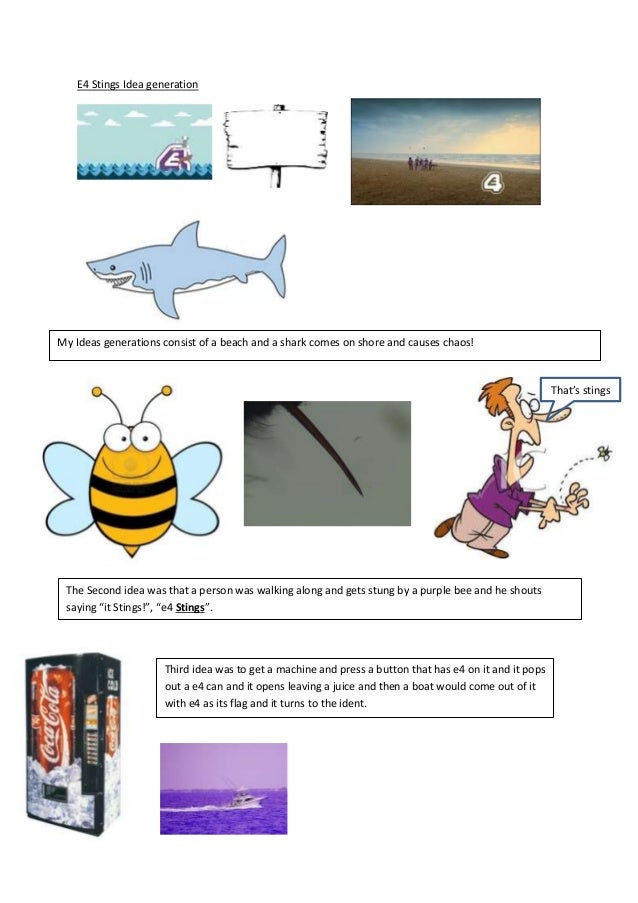 E4 Stings Idea generation My Ideas generations consist of a beach and a shark comes on shore and causes chaos! That's stin...