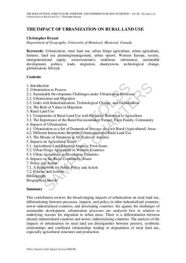 THE ROLE OF FOOD, AGRICULTURE, FORESTRY AND FISHERIES IN HUMAN NUTRITION – Vol. III - The Impact ofUrbanization on Rural L...