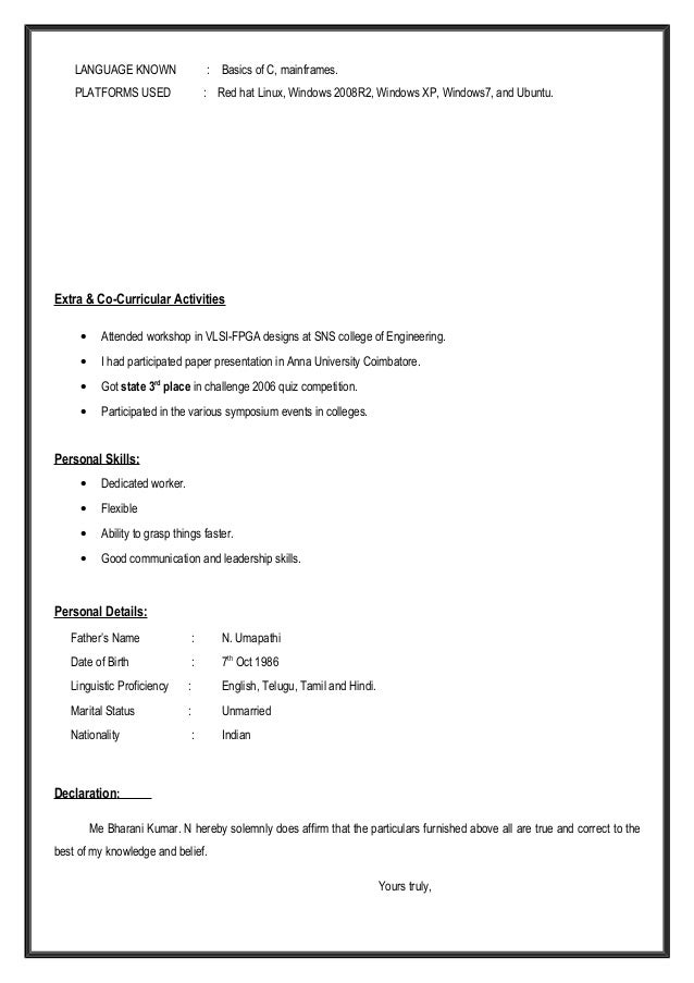 bharani experienced resume