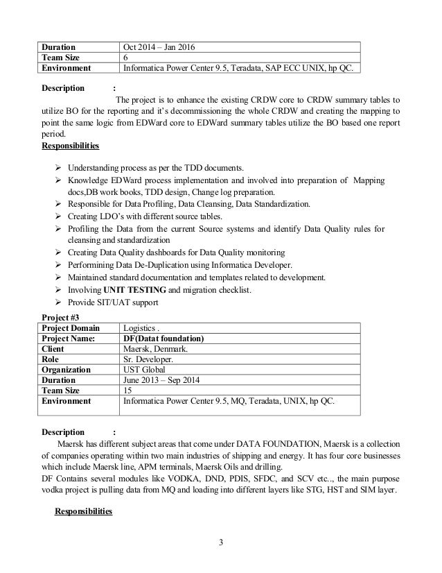 resume informatica idq 4 years of exp
