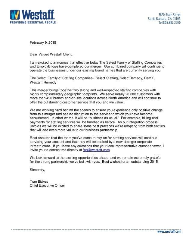 Westaff EmployBridge Client Letter