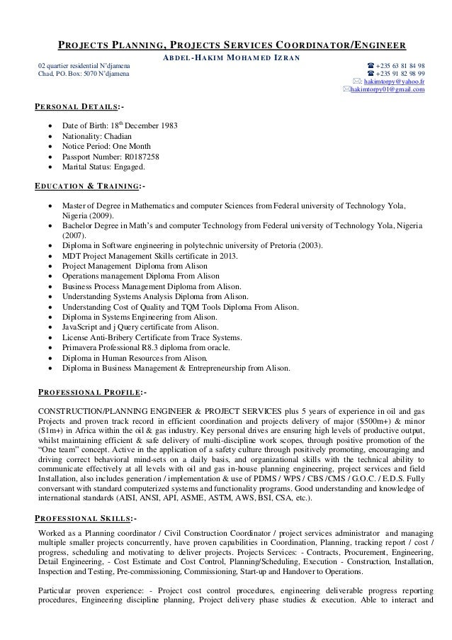 resume projects engineer planner project services 2