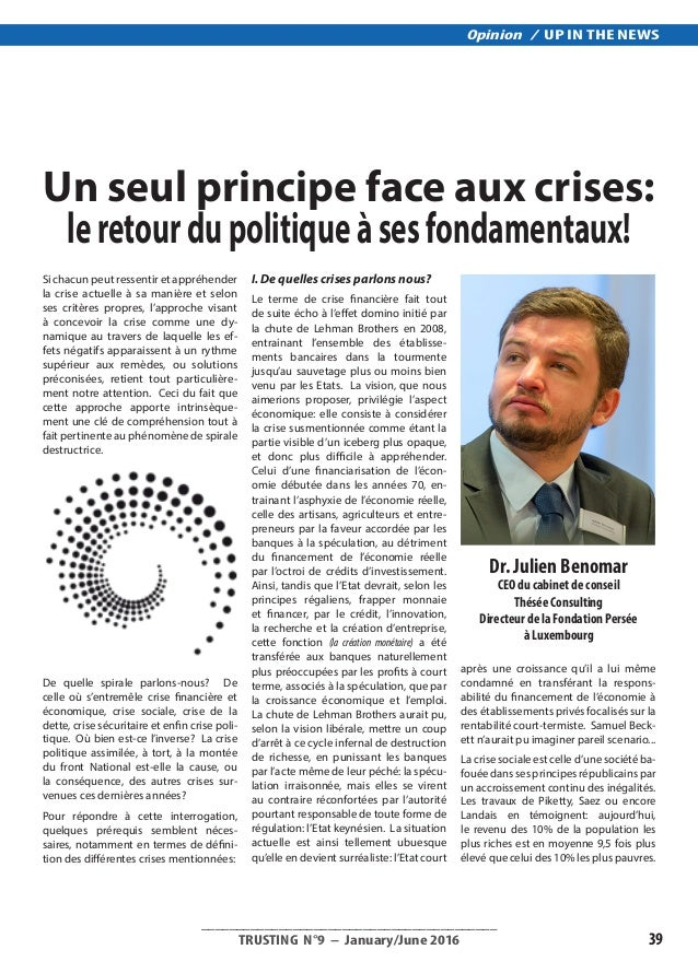 __________________________________________ TRUSTING N°9 – January/June 2016 39 Opinion / UP IN THE NEWS Si chacun peut re...