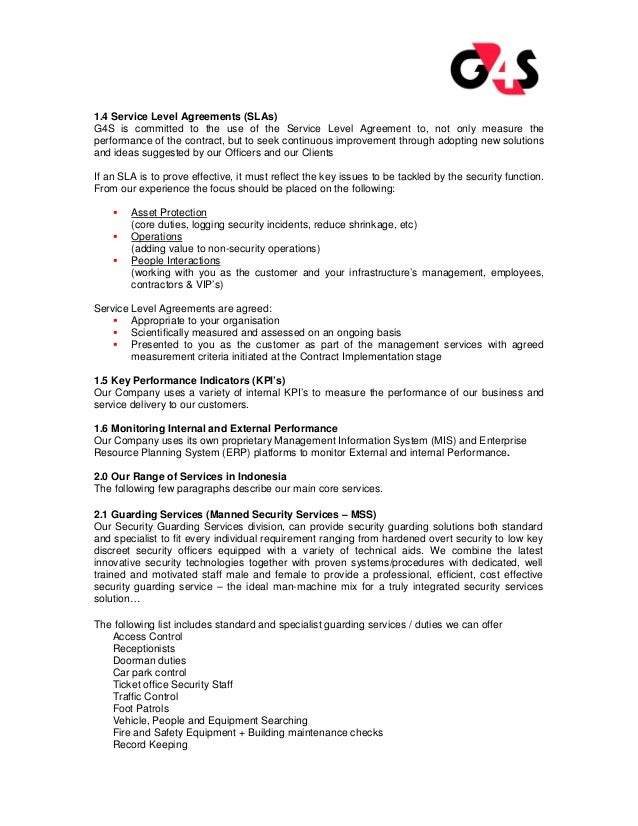 G4s security services company profile g4s for Security company contract template