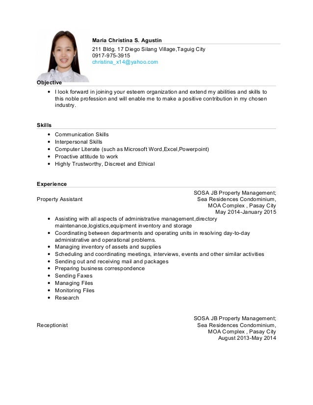 Sample resume for ojt tourism students