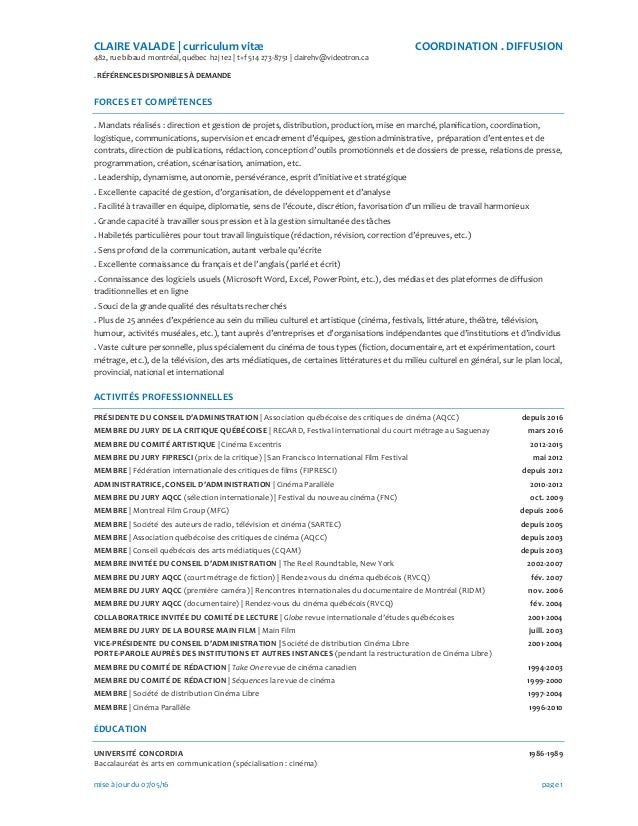 CLAIRE  VALADE  |  curriculum  vitæ   COORDINATION  .  DIFFUSION   482,  rue  bibaud    montréal,...