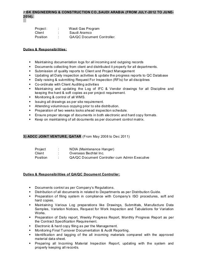 senior document control specialist job description