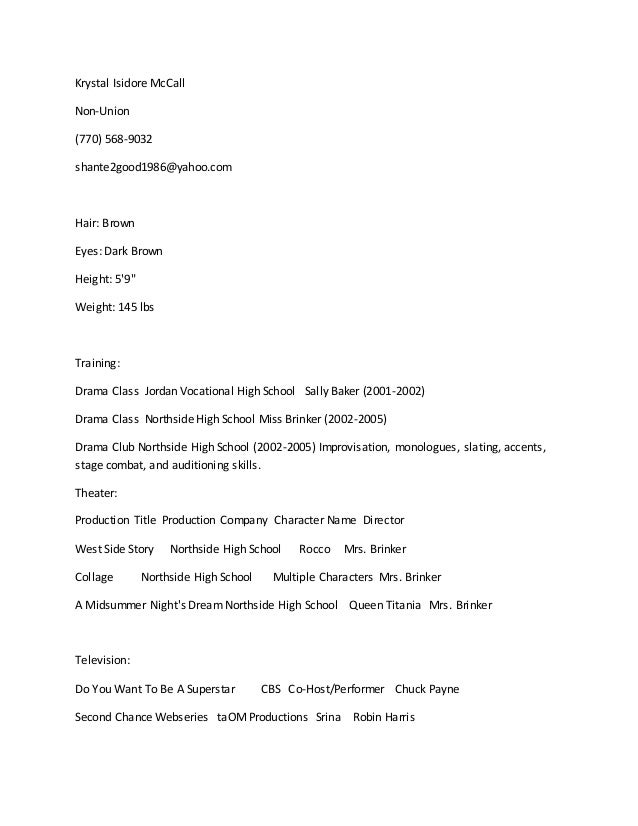 mccall acting and modeling resume
