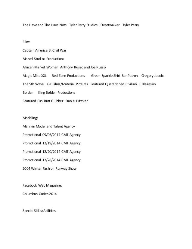 Krystal Mccall Acting And Modeling Resume