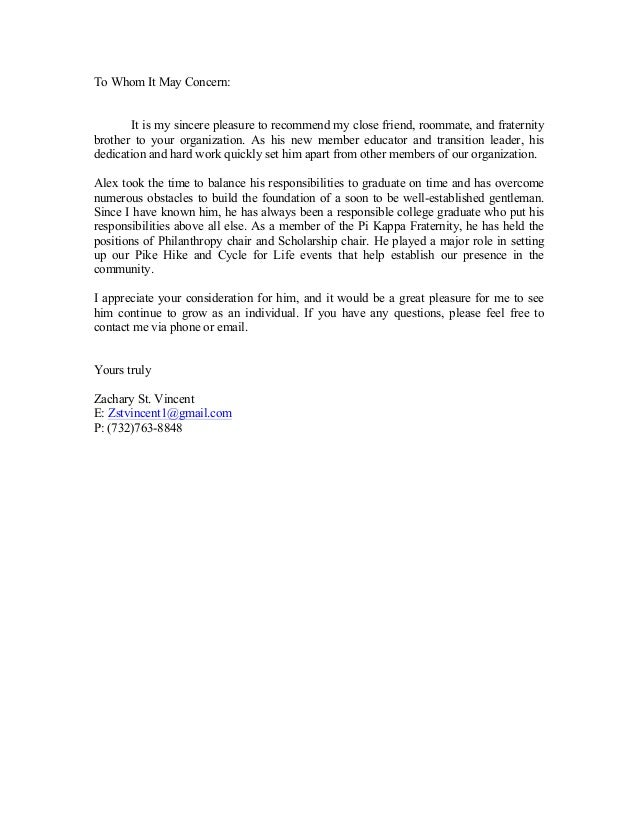 recommendation letter for admission sample letters