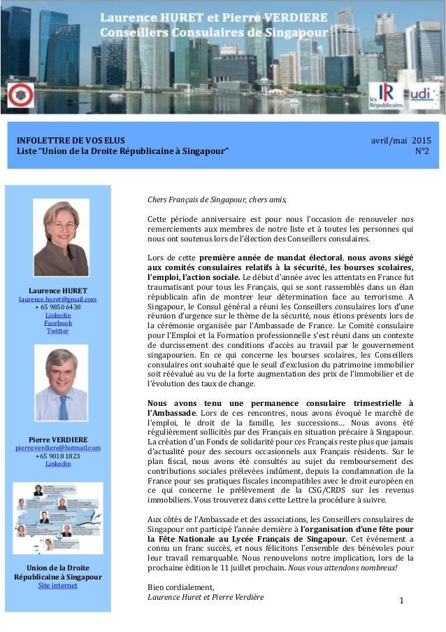 """InfoLettre N°2 de Laurence Huret et Pierre Verdiere avril/mai 2015 1 INFOLETTRE DE VOS ELUS avril/mai 2015 Liste """"Union de..."""
