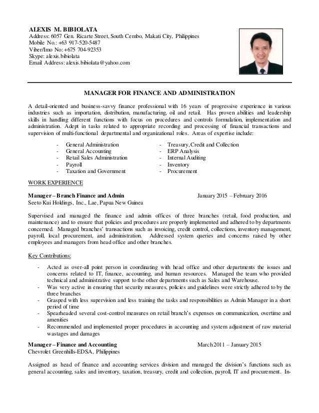 resume of alexis bibiolata