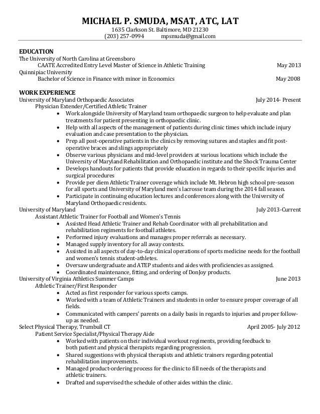 Physical Therapy Aide Resume Resume Ideas