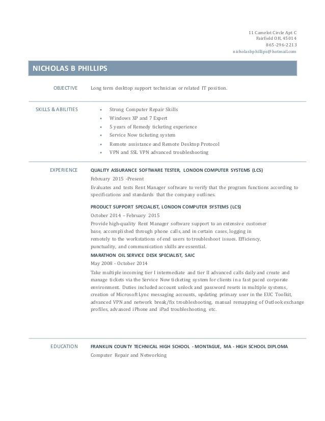 100 desktop support resume sle help desk technician