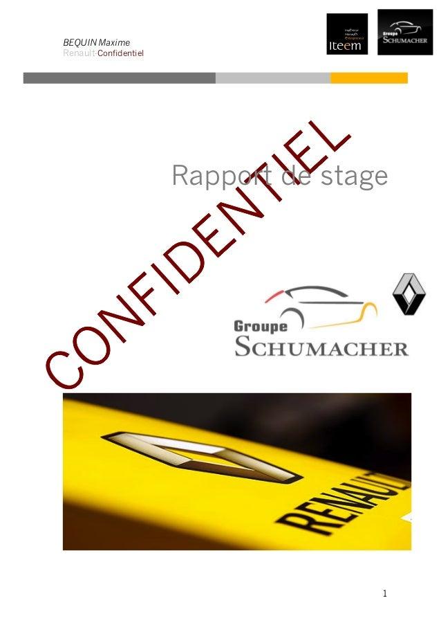 BEQUIN Maxime Renault-Confidentiel 1 Rapport de stage