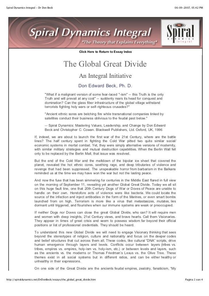Spiral Dynamics Integral - Dr Don Beck                                                                               06-09...
