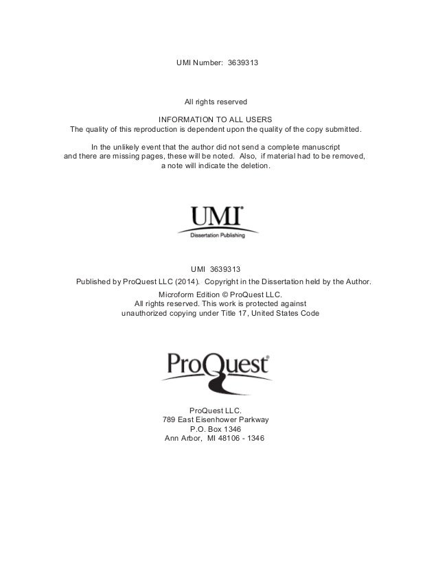 Dissertation umi number