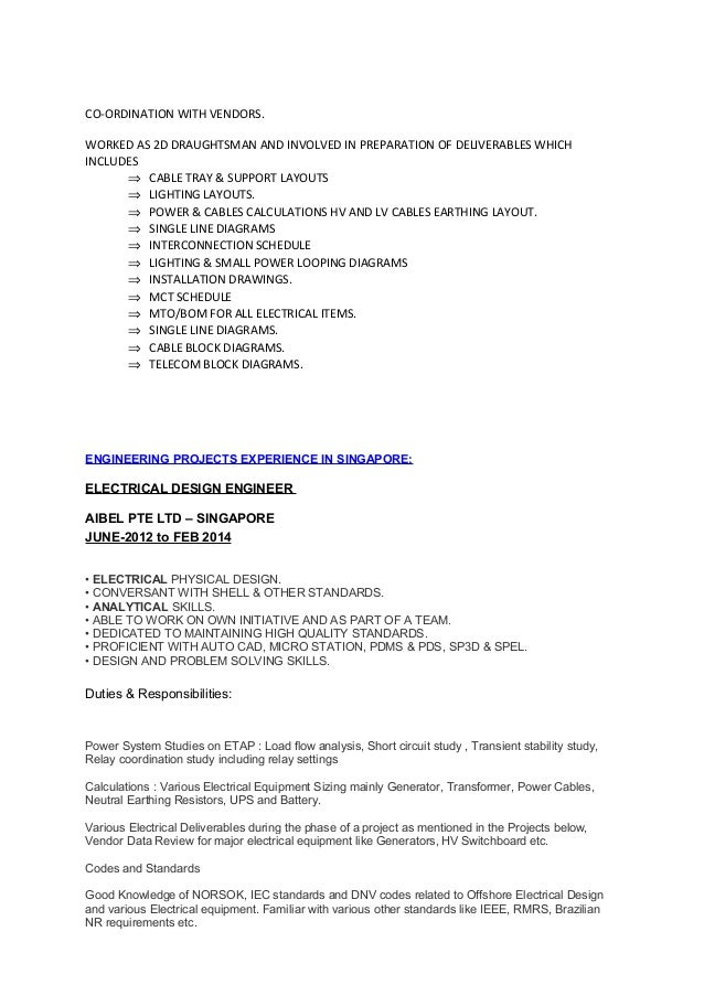 Electrical cad designer resume
