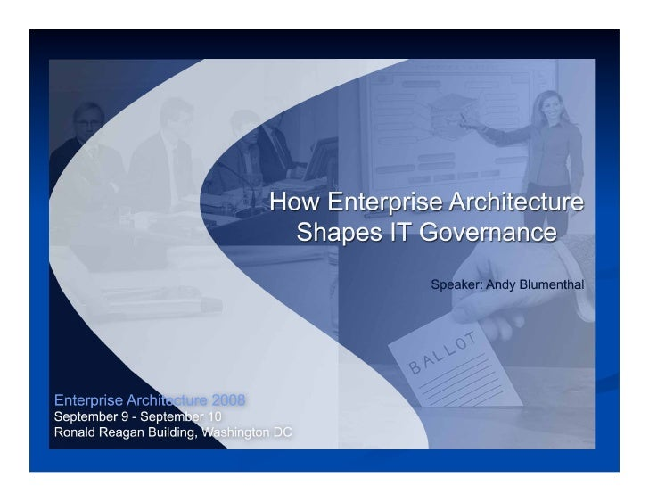 Andy Blumenthal Presents How Enterprise Architecture Shapes IT Governance