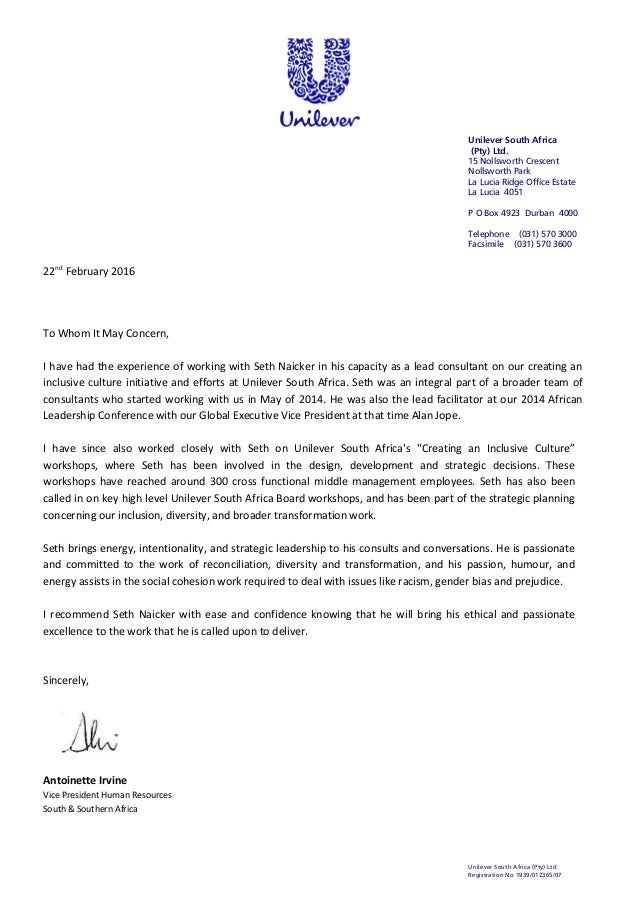 letter of reference - seth naicker - unilever