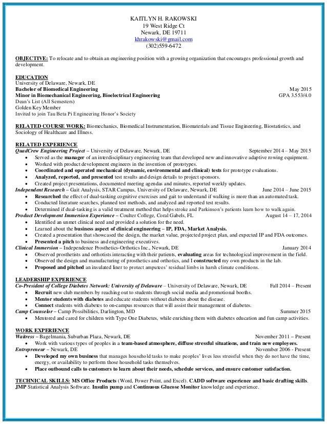Kaitlyn H Rakowski Biomedical Engineering Resume