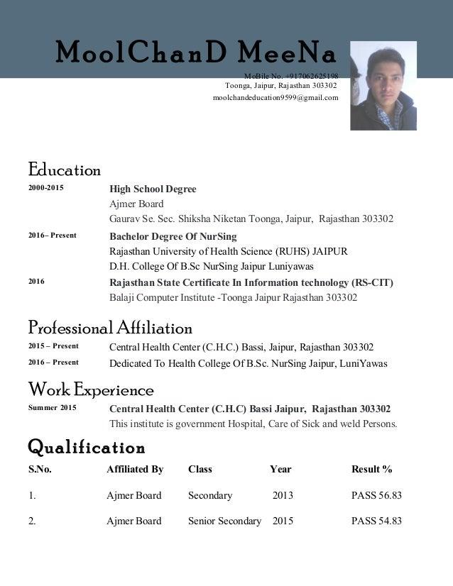 Education2000-2015 High School DegreeAjmer BoardGaurav Se. Sec ...