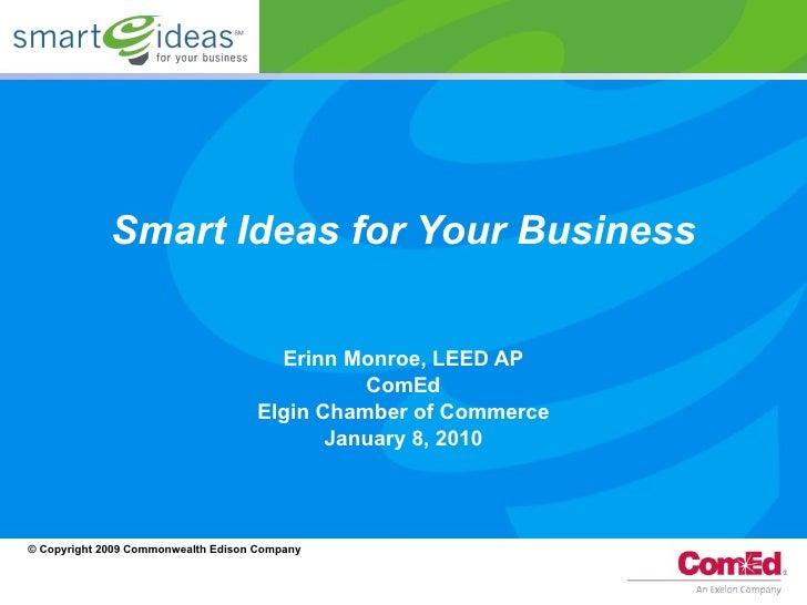 Smart Ideas for Your Business Erinn Monroe, LEED AP ComEd Elgin Chamber of Commerce January 8, 2010