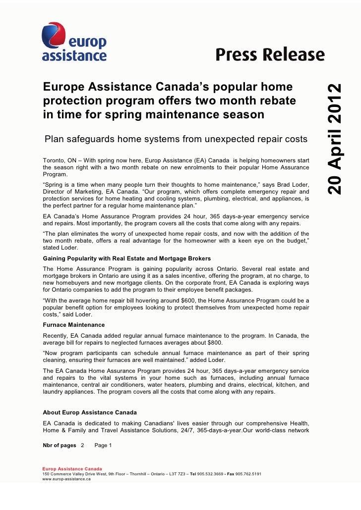 EA CANADA HOME PROTECTION PROGRAM_REBATE CAMPAIN PRESS RELEASE_2012-04-20