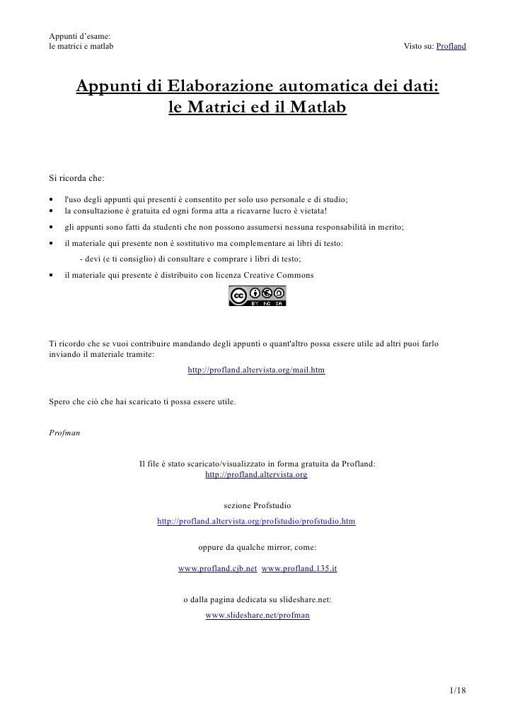 Appunti di Elaborazione automatica dei dati: matrici e matlab
