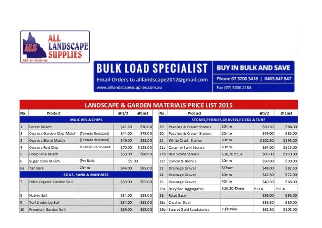 Landscaping Prices List Price List 2015 no