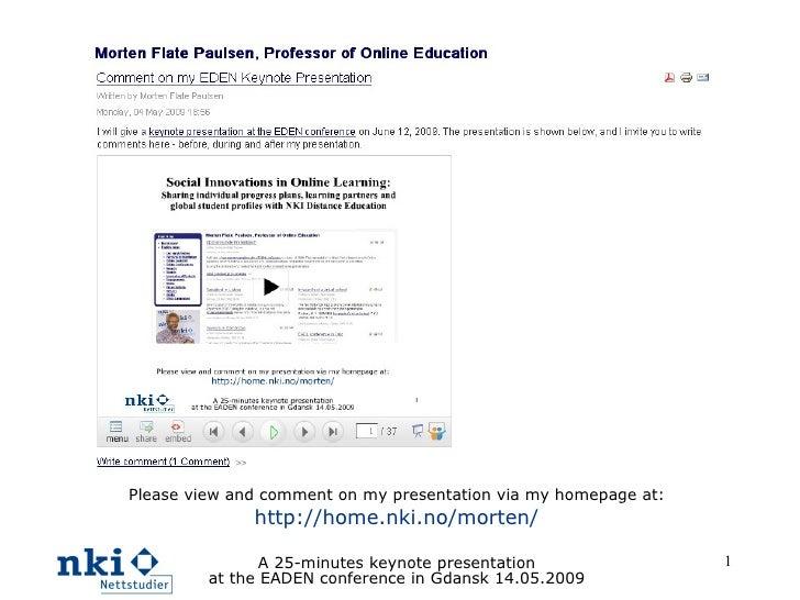 Social Innovations in Online Learning at NKI