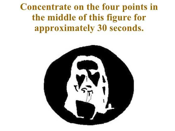 Concentrate on the four points in the middle of this figure for approximately 30 seconds.