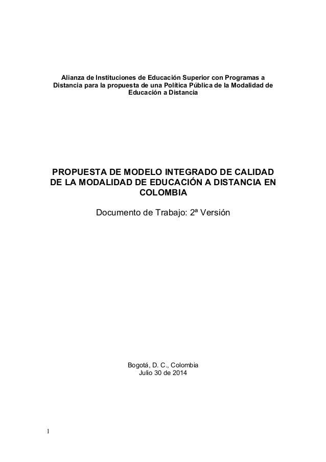 1 Alianza de Instituciones de Educación Superior con Programas a Distancia para la propuesta de una Política Pública de la...