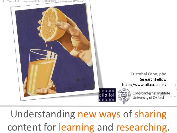 Understanding new ways of sharing content for learning and researching.
