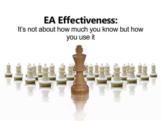 EA Effectiveness:It's not about how much you know but how                 you use it