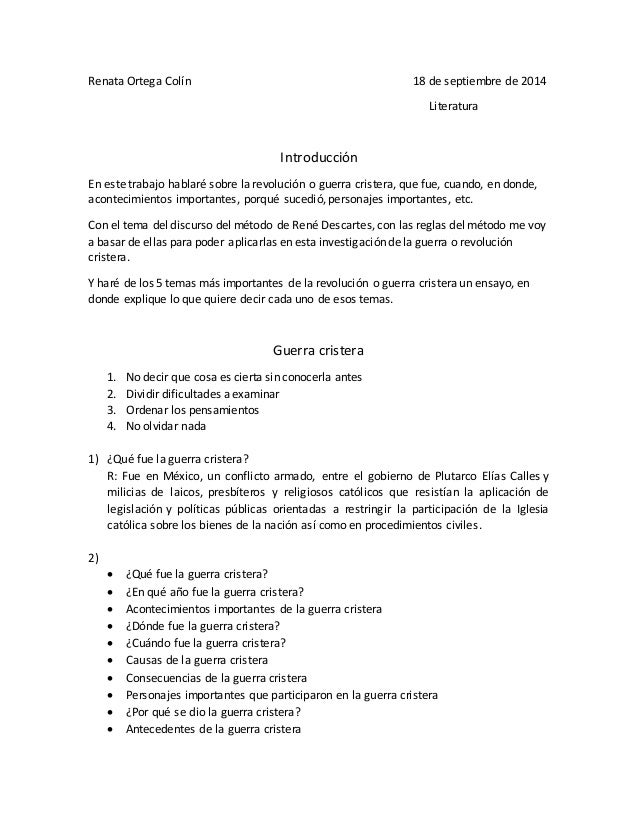 Renata Ortega Colín 18 de septiembre de 2014  Literatura  Introducción  En este trabajo hablaré sobre la revolución o guer...