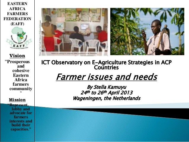 ICT Observatory on E-Agriculture Strategies in ACPCountriesFarmer issues and needsBy Stella Kamuyu24th to 26th April 2013W...