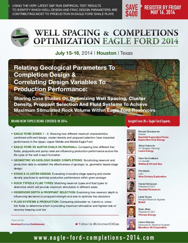 Well Spacing & Completions Optimization Eagle Ford 2014