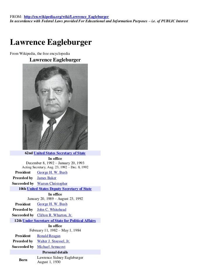 FROM: http://en.wikipedia.org/wiki/Lawrence_EagleburgerIn accordance with Federal Laws provided For Educational and Inform...