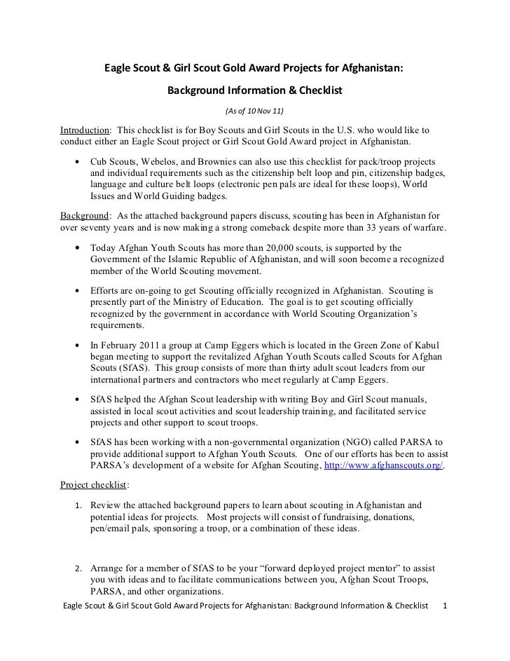 Eagle Scout & Girl Scout Gold Award Projects for Afghanistan:                           Background Information & Checklist...